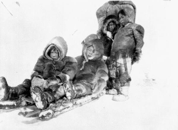 Inuit People Children Sledding