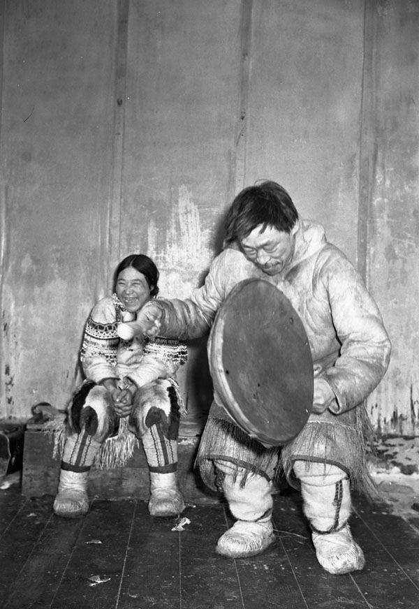 Inuit People Drum Player