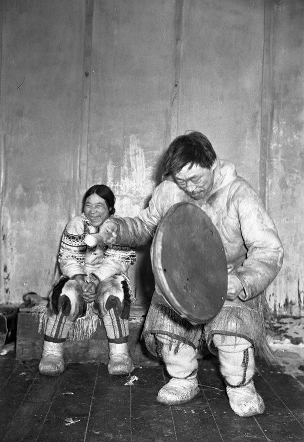 Inuit People Drum Player