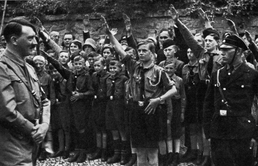 Many Boys Saluting Hitler