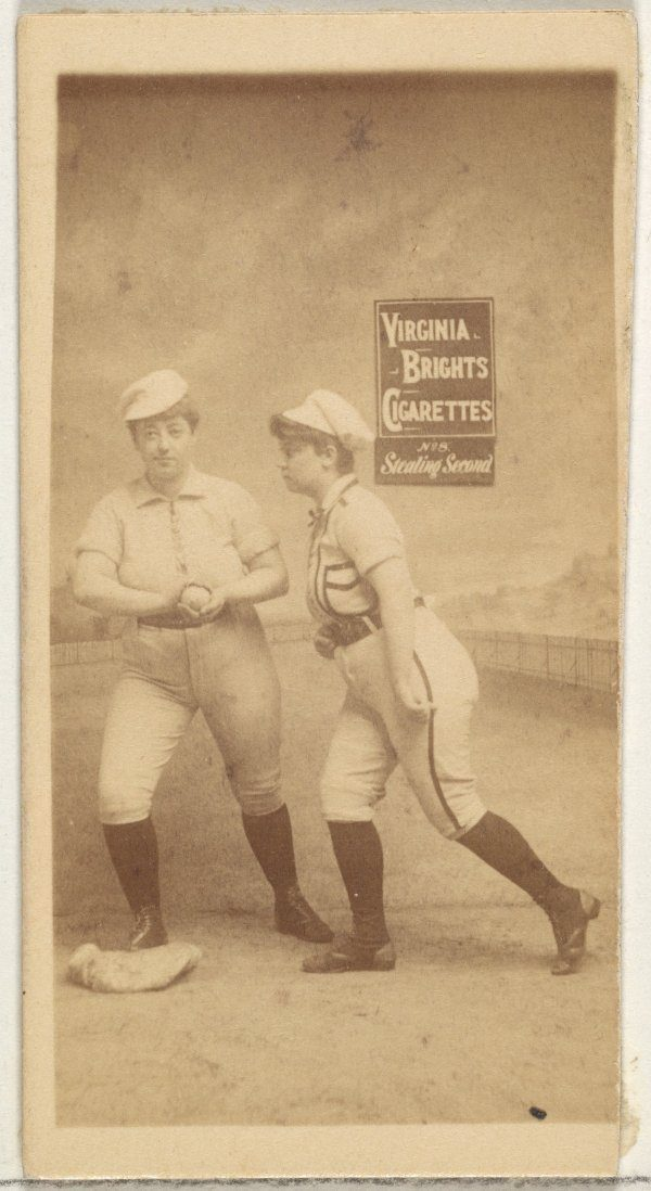Stealing Second Baseball Girls, From Type 2 Series of Baseball Cards