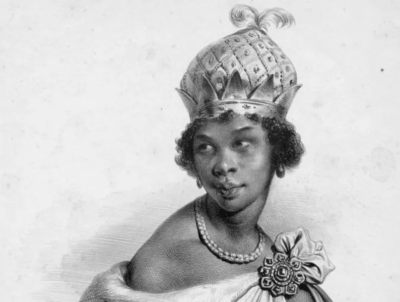 Queen Nzinga Wearing A Large Crown