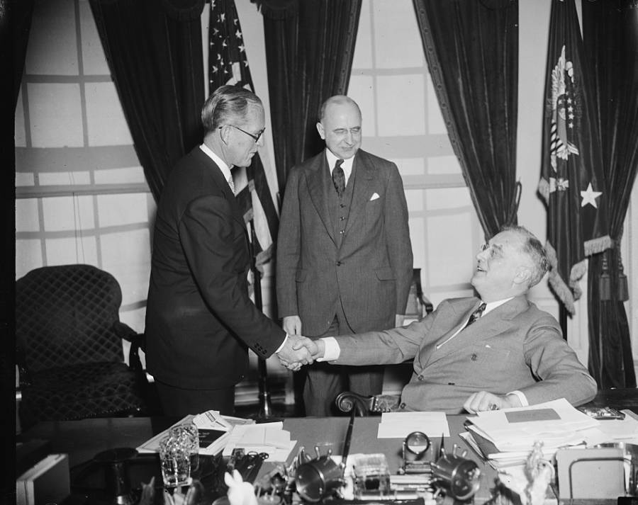 Joseph P. Kennedy Sr. Shaking Hands With Franklin Roosevelt