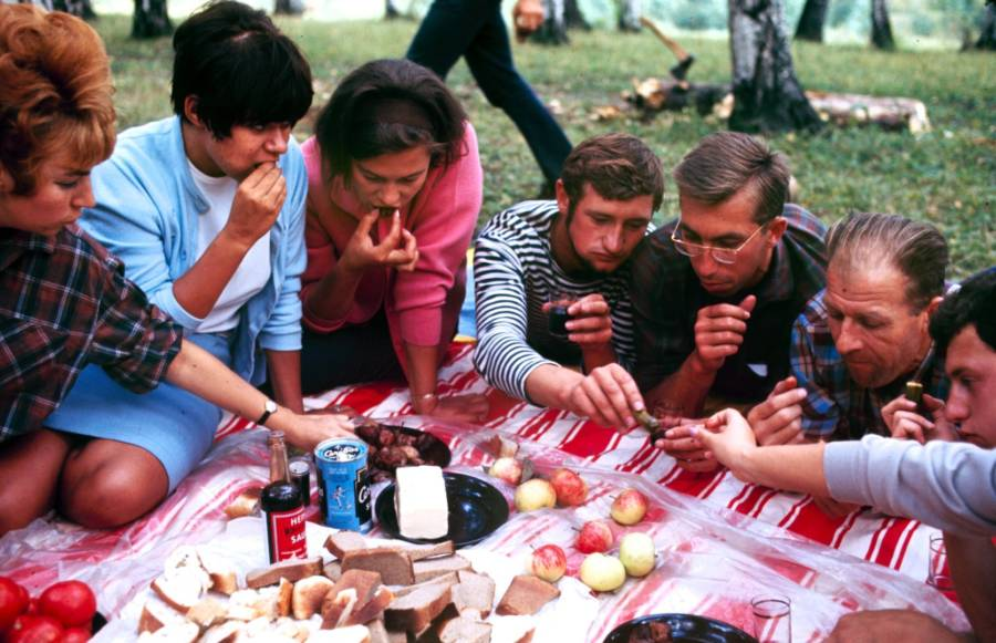 Soviet Youth Picnic Outdoors