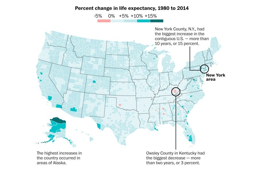 Americans Life Expectancies Vary Wildly From County To County - Life expectancy by us county 2014 map
