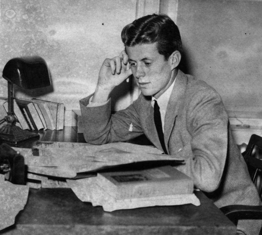 Young Kennedy At Desk