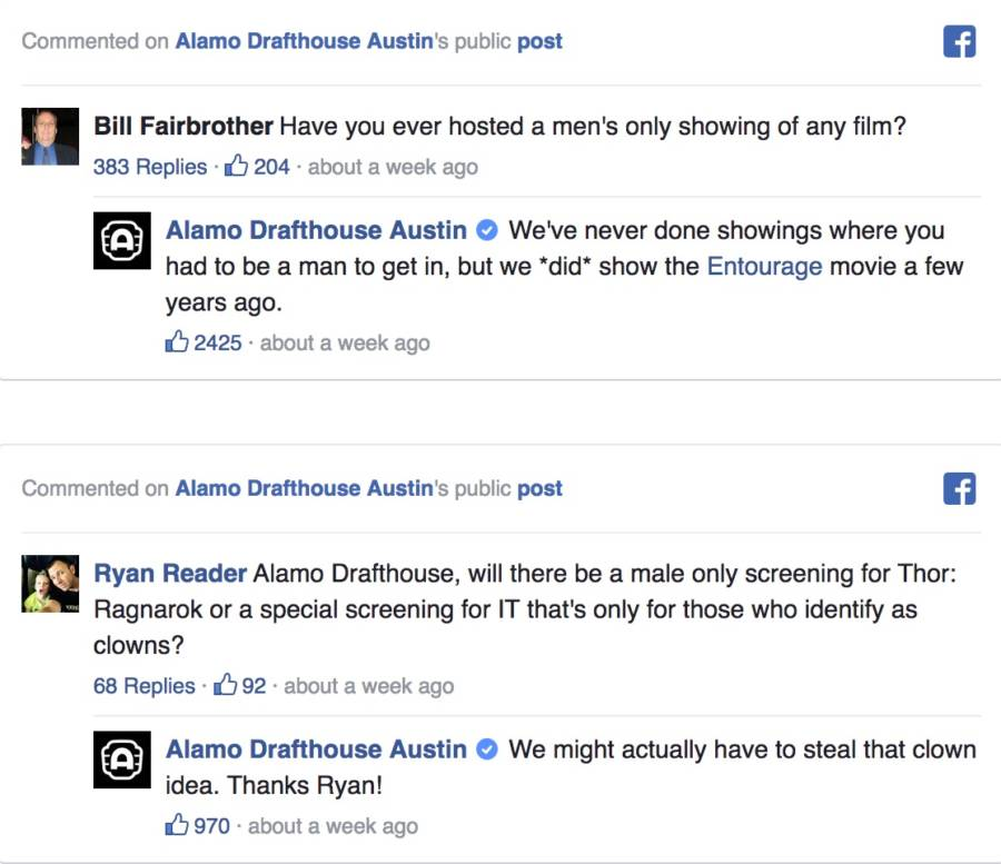 Alamo Drafthouse Facebook Comments