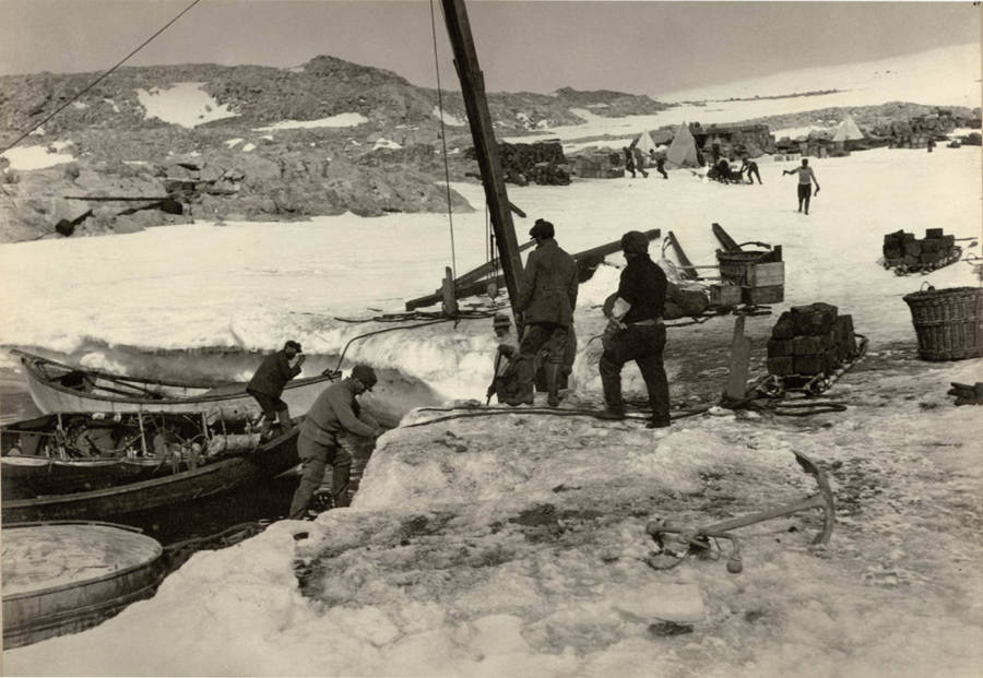 Antarctic Exploration Unloading Supplies