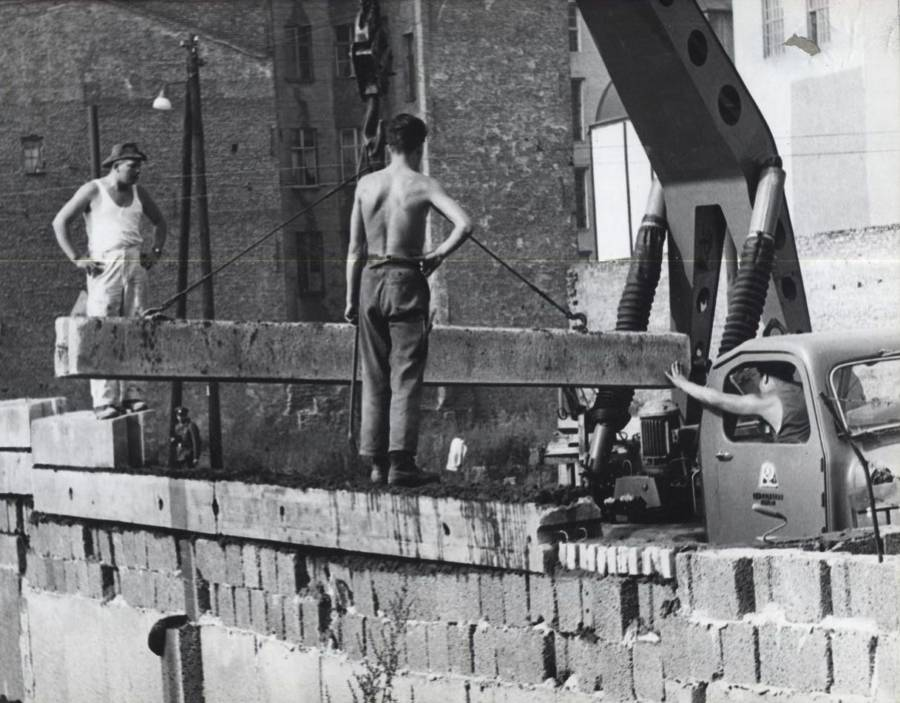 Berlin Wall Construction Workers