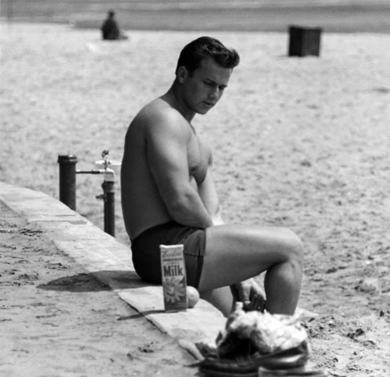 Bodybuilder Staring Milk