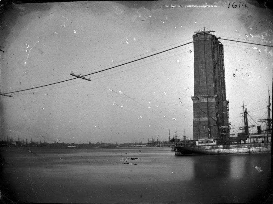 Brooklyn Bridge Being Built