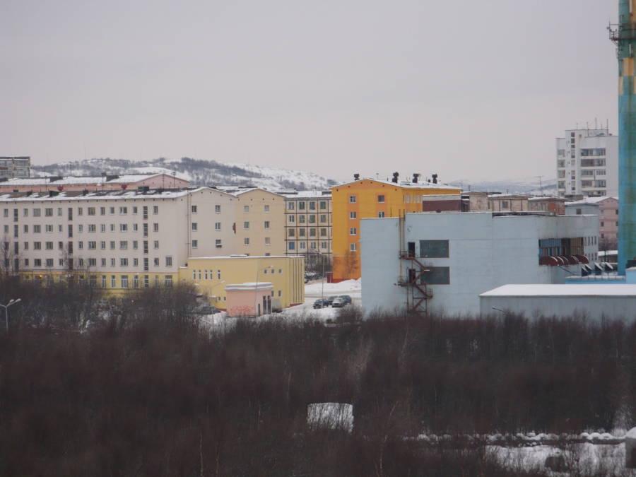 Light Blue Building Snow