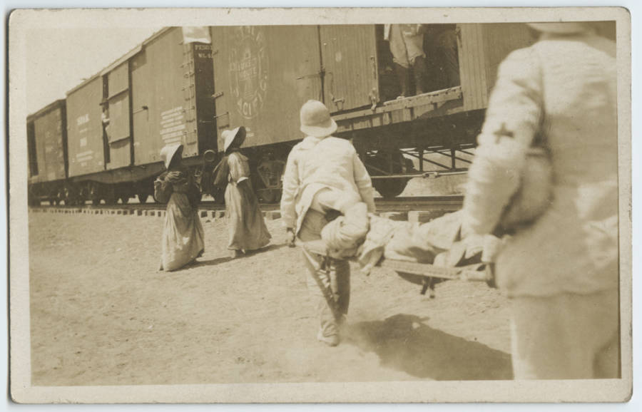 Loading Wounded On Train
