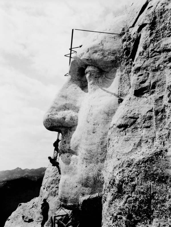 Mount Rushmore Being Built