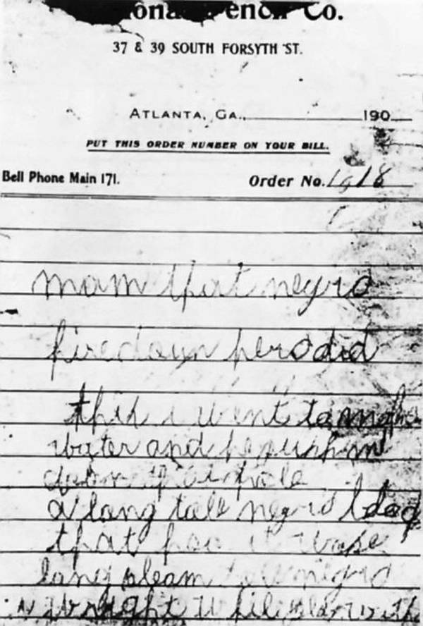 Murder Note For Mary Phagan