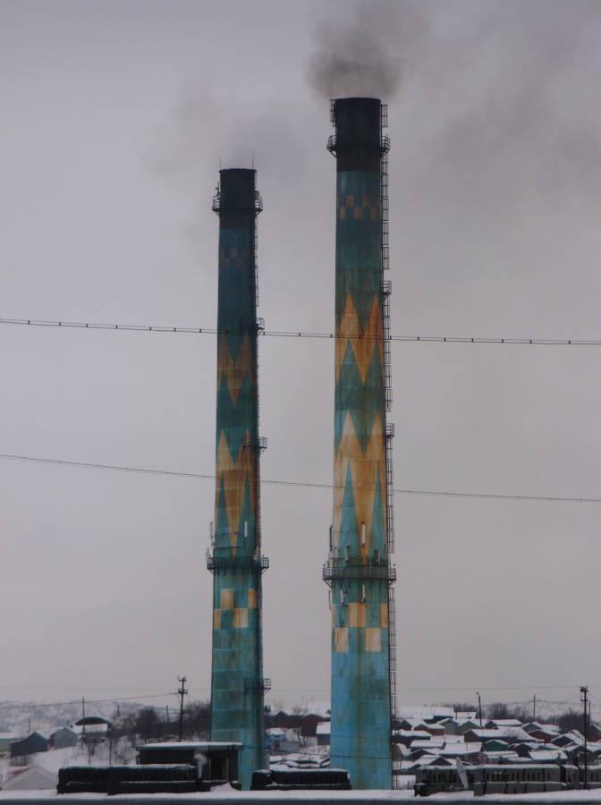 Painted Smokestacks Blue