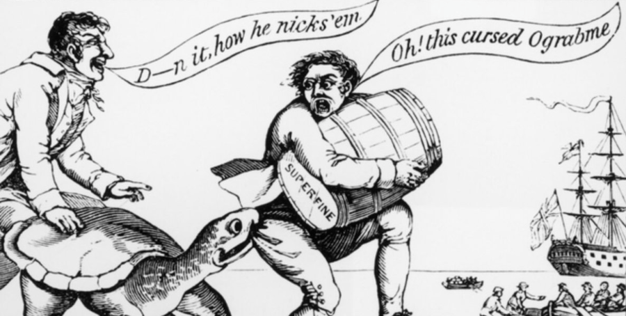 Political Cartoon Mocking Jefferson Trade Policy
