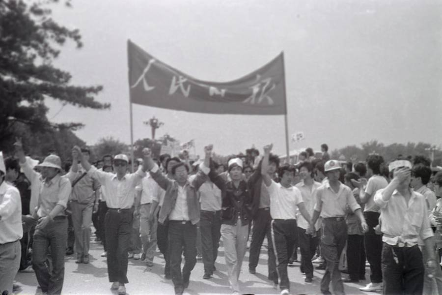 Tiananmen Protest Photos Hands
