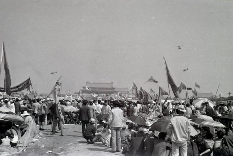 Tiananmen Protest Photos Helicopter