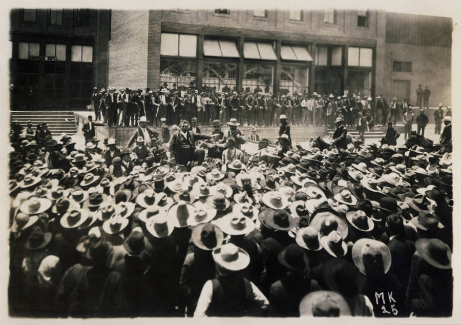 William Green Addressing Workers