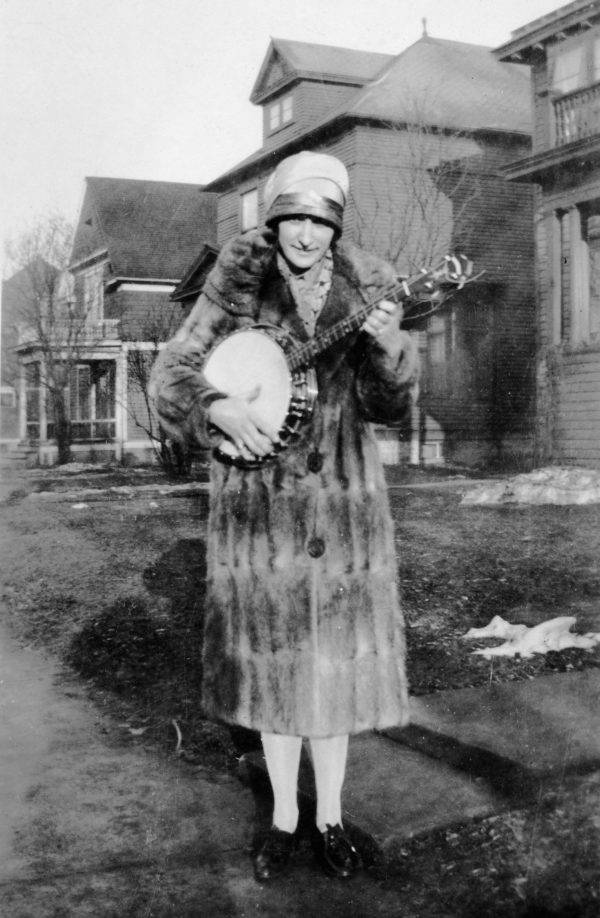 A Flapper Plays Her Banjo