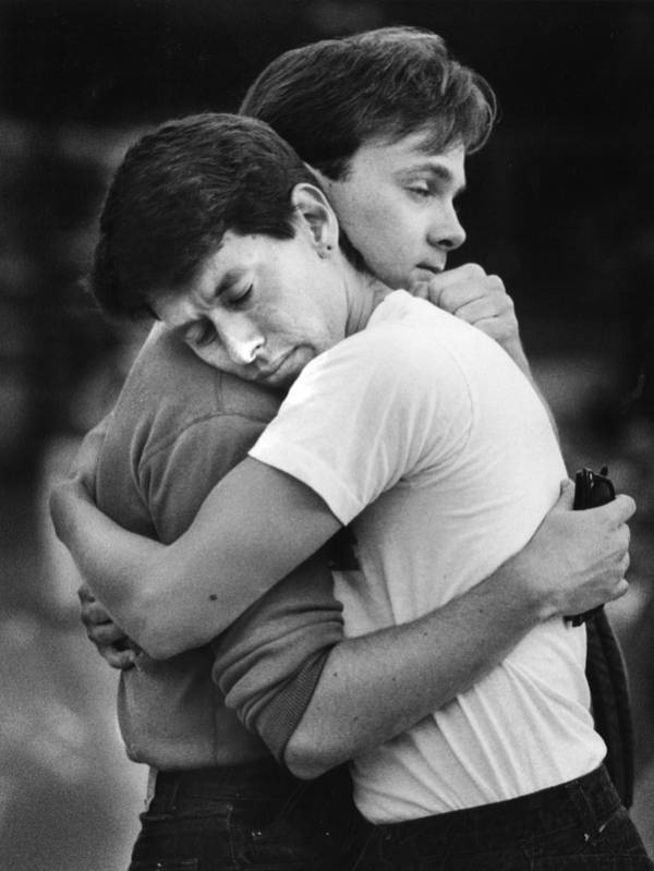 Aids Protesters Embrace