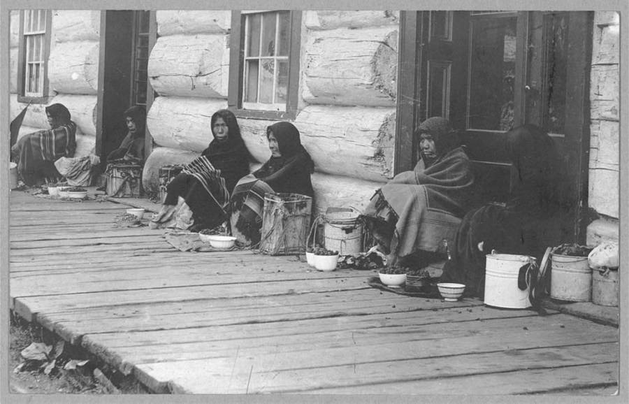 Alaskan Eskimos Selling Berries