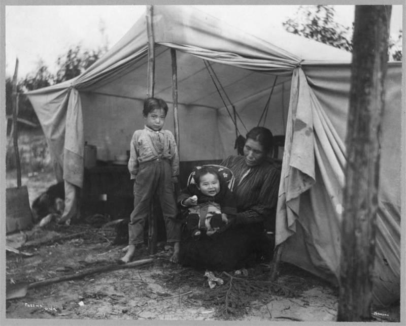 Alaskan Family In Tent