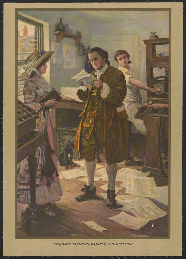 Benjamin Franklin In His Print Shop