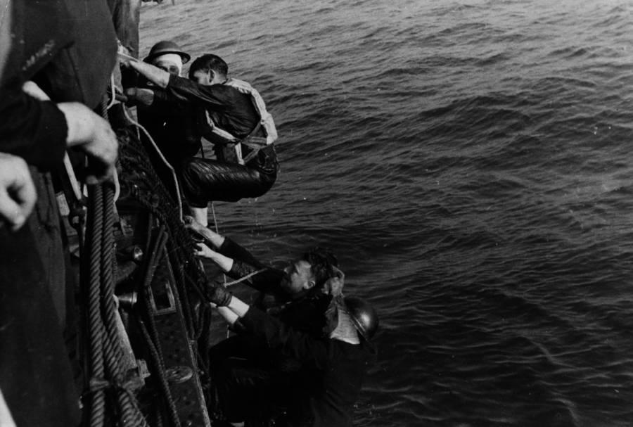 Climbing Onto Boat