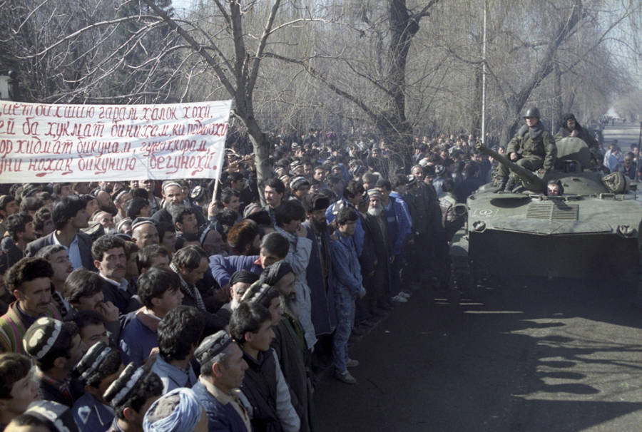 Dushanbe Riots Tanks Enter