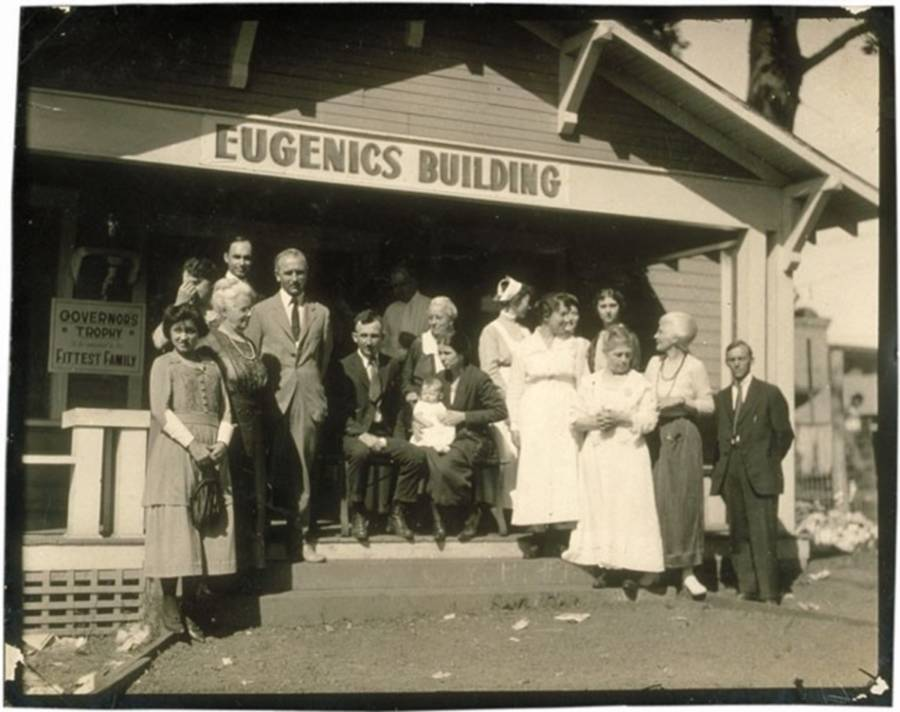 Eugenics Building Crowd Front