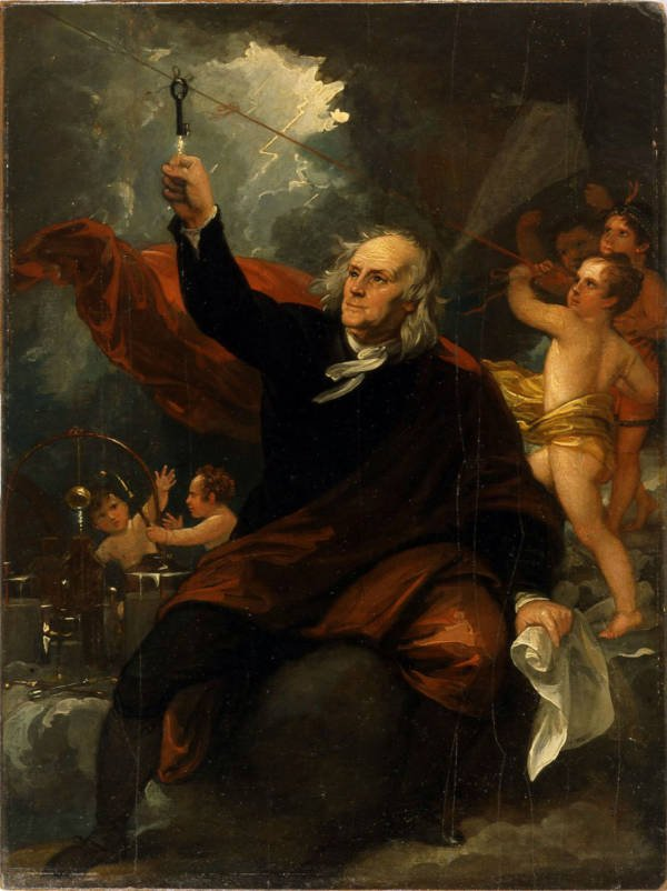 Painting Of Franklin Capturing Electricity
