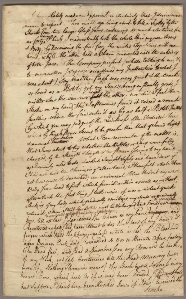 Franklin's Letter To Son Describing His Electrocution