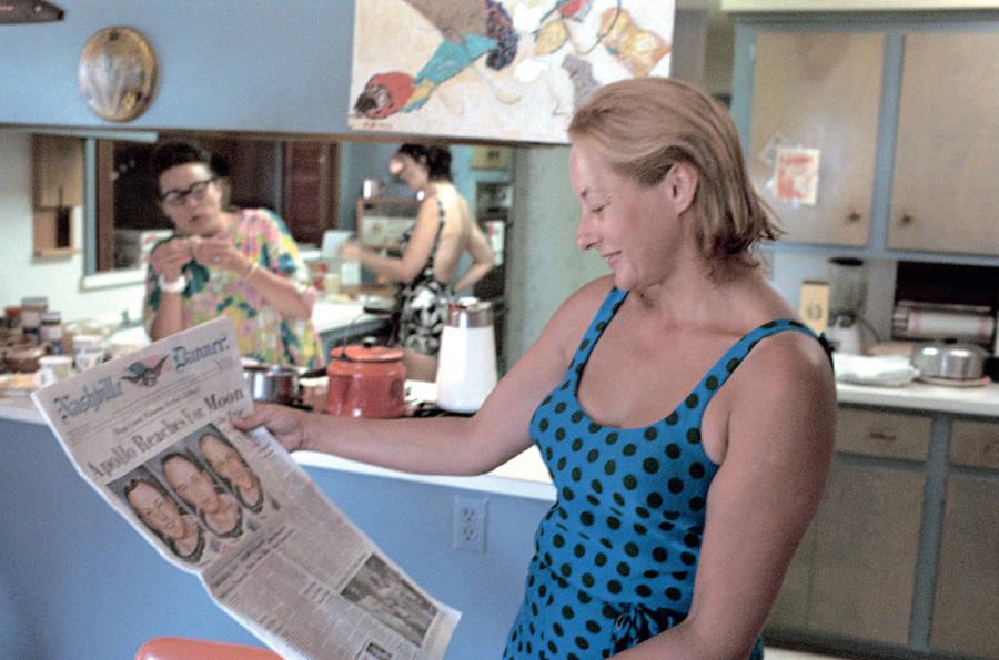 Joan Aldrin Reading Newspaper