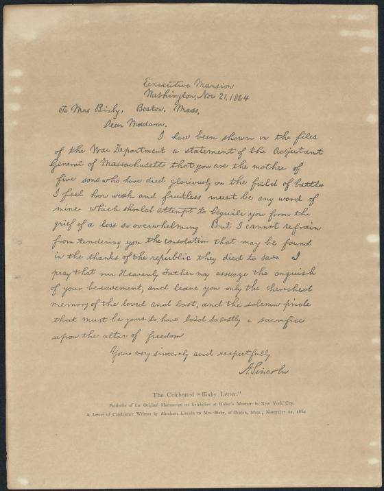 Lincoln Bixby Letter