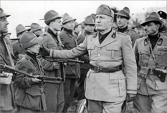 Benito Mussolini taps the cheek boy