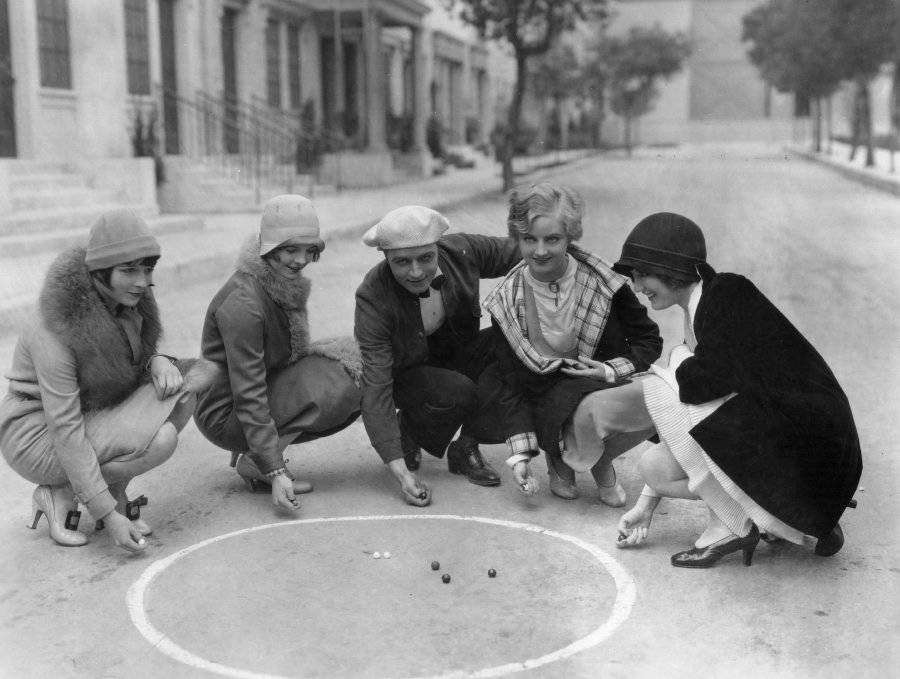 Playing Marbles In Flapper Fashion