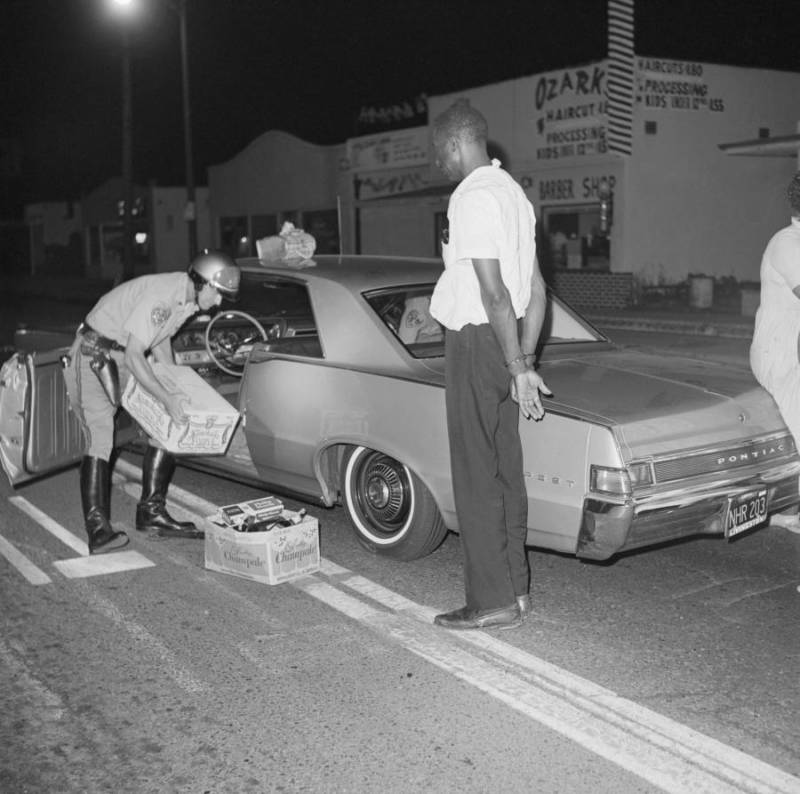Sheriffs Searching Car During Watts Riots
