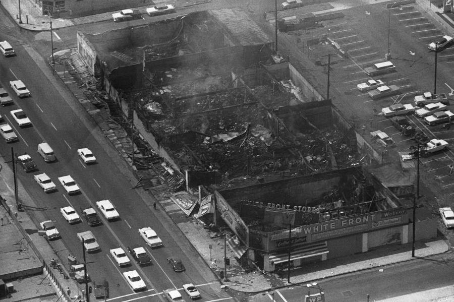Smoldering Remains Of Buildings