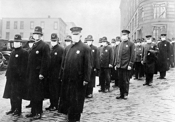 Spanish Flu Disaster Police In Masks