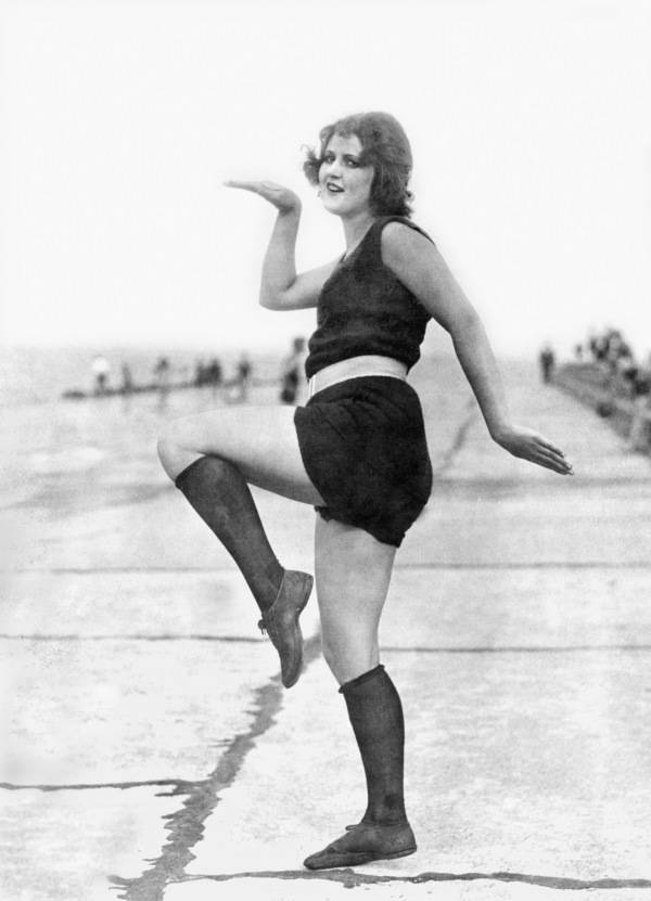 Swimming Suit Clad Flapper Strikes Pose