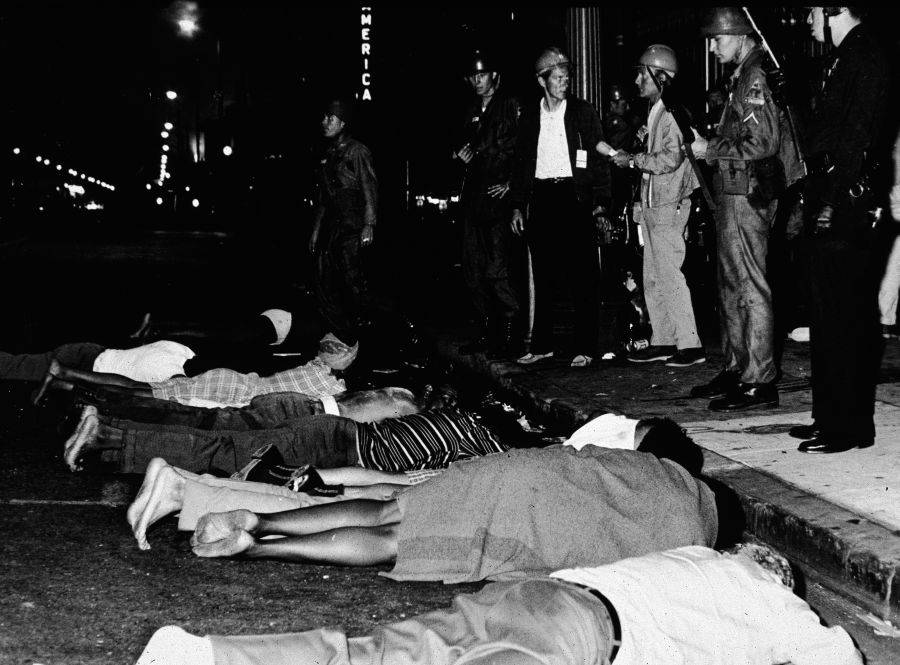 Watts Rioters Lying In Street