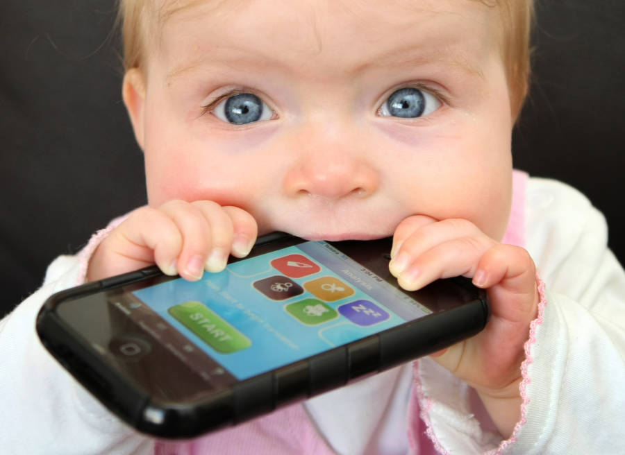 Baby Eating Iphone