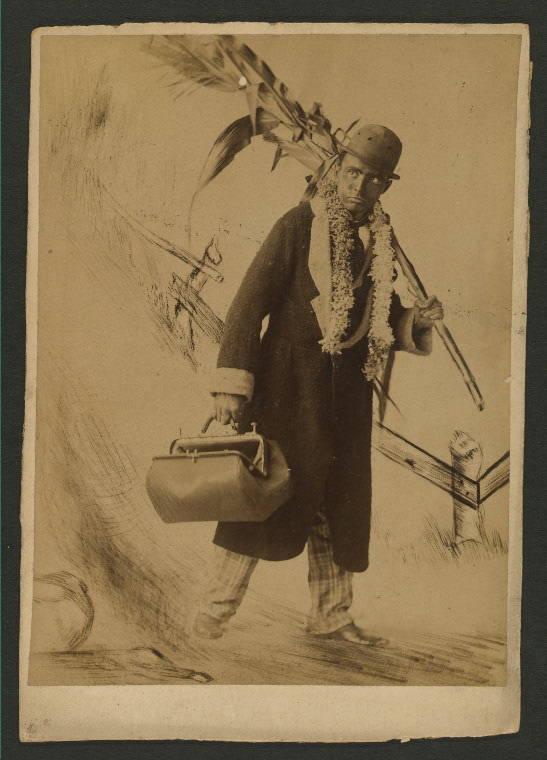 Blackfaced Man With Handbag