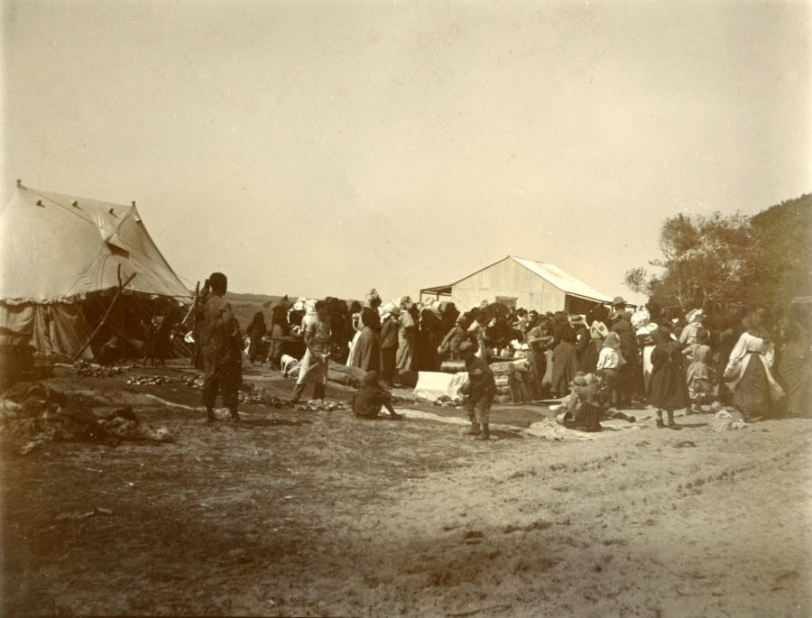 Concentration Camp Distributing Rations