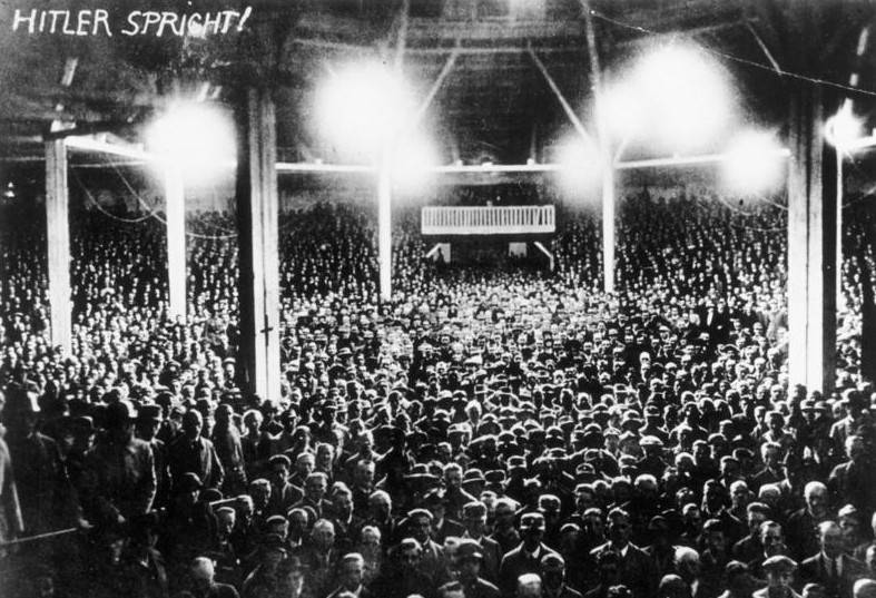 Crowd Hears Hitler Speak