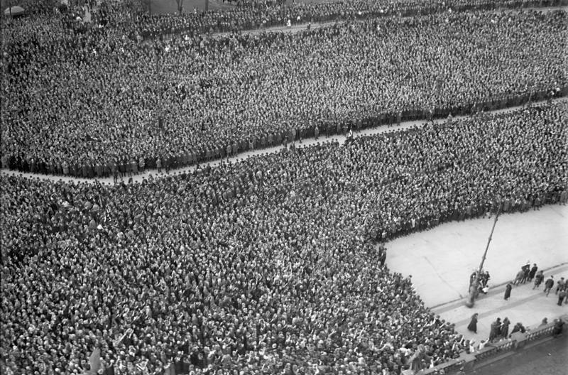 Crowd Listening To Hitler