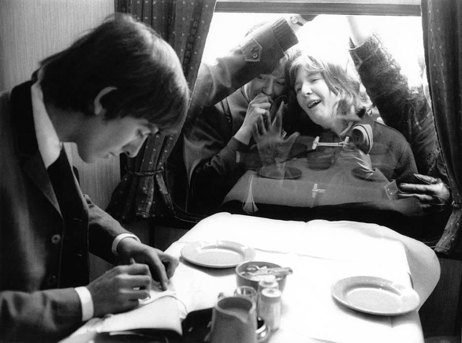 George Harrison On Train
