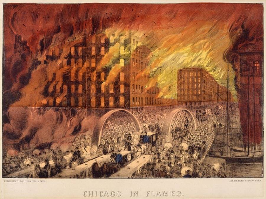 Great Chicago Fire Flames Illustration